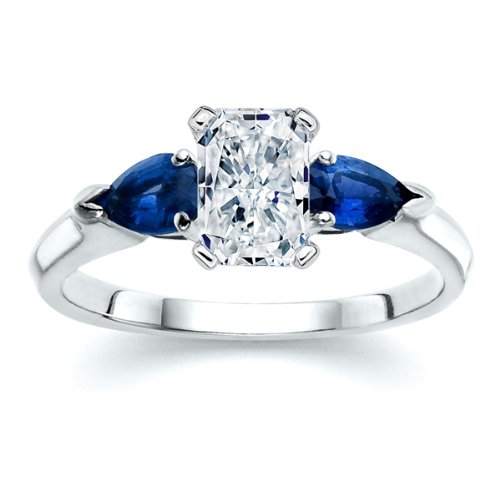 white sapphire and blue sapphire engagement ring